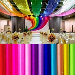 Wholesale Yarn Curtains - 75cm Wide 50 Meters Ribbon Roll Organza Tulle Yarn Chair Covers Accessories For Wedding Backdrop Curtain Decorations Supplies