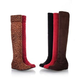 Wholesale Stretch Leopard Boots - wholesaler free shipping factory price hot seller Knee Boots Heel lifed Leopard Thigh-High Stretch FabricBoots Boots 072