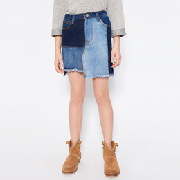 Wholesale Kids Ruffle Jeans - New Big Girls Skirt Denim Skirts Irregular Edge Jeans Skirt Blue Patchwor Kids Skirt Fashion CowboSkirts Children Clothes Mini Dress A6502