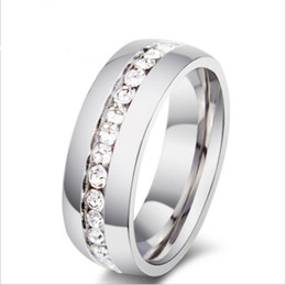 Wholesale R Cluster - new diamond rings circle ring studded with diamond ring ultra-simple single-row drill ring for men women R-005S