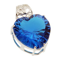 Wholesale Nice Heart Flowers - Wedding Heart Shape Pendant Necklace Ocean Blue Topaz 925 Sterling Silver Wholesale Women Fashion Sparkling Nice Quality