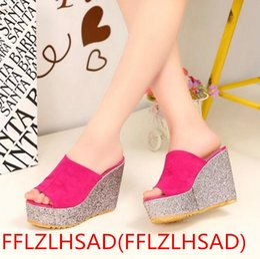 Wholesale Shoes High Platform Sequin - New Hot 2017 Fashion Sequins High Heel Slippers Women Summer Shoes Suede Platform Sandals Ladies Wedges Sandals Brand Flip Flops