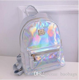 Wholesale Wholesale Camping Backpacks - Popular Laser PU Mini Backpack Kids Flashing School Bag Student Fashion Waterproof Backpack Camping Picnic Backpack Kids Gift Free Shipping