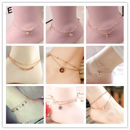 Gold Plated Anklet Bracelet For Women Foot Jewelry Rose Gold Plated Cute Ball Two Options Bracelets For Leg Deals