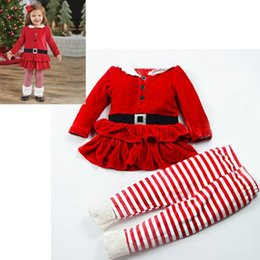 Wholesale 2t Fleece Pants - 2017 girls christmas outfits fall boutique kids clothing sets baby fleece ruffle tutu dresses top + striped pants 2pcs childrens clothes red