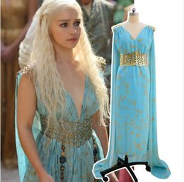 Wholesale Song Ice - Game of Thrones A Song Of Ice And Fire Daenerys Targaryen Dress Cosplay Costume Halloween Event Evening Party Dresses Women