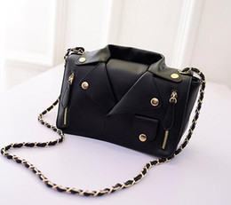 Wholesale Embellished Jackets - Wholesale-Women Fashion Leather Jacket Shape Rivet Zipper Embellished Chain Shoulder Bag Cross Body Bag (High Quality) BAOK-129a
