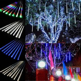 Wholesale Shower Light Christmas - 110-220V LED String Waterproof Meteor Shower Tube Light Christmas Lamp Outdoor Christmas Wedding Party Garden Decor