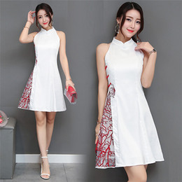 Wholesale Modified Sweetheart - Chinese cheongsam dress, long embroidered ladies skirt, summer RETRO art, Fan Shunv, A modified cheongsam skirt