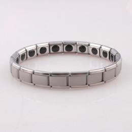 Wholesale Titanium Bracelets For Health - Silver Stainless Steel Bracelet Fashion Men Women Jewelry Bracelets Bangle for Birthday Gift Titanium Steel Health Care Magnetic Germanium