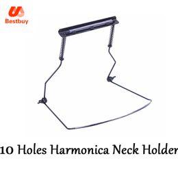 Wholesale Harmonica Neck - wholesale 10 Holes Harmonica Neck Holder Mouth Organ Stand Harmonica Harp Rack -Metal black New