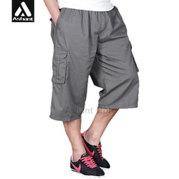Wholesale Fit Cargo Shorts - Wholesale-2016 Brand Men's Casual Cargo Large Size XXXL-6XL Drawstring Shorts Capris Pockets Loose Fit Army Green Shorts