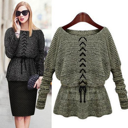 Wholesale Black Top Crochet Collar - New Autumn Winter Women Sweaters Long Batwing Sleeve Round Collar Loose Sweater Europe Style Defined Waist Bandage Knitted Tops FS0818
