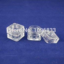 Wholesale 5g Acrylic Jar Wholesale - Wholesale- 5G Square Jar, Acrylic Jar, Crystal Clear Transparent Box, Empty Cosmetic jars, Packing Container, Square Case,100pcs Lot