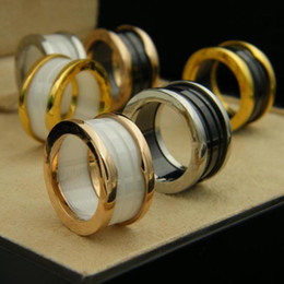 Wholesale Titanium Couple Ring Black - Mark Bulgaria 316L stainless steel rings of ceramic black and white women men Jewlery wedding couple lover ring