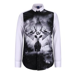 Wholesale Clothing Design Business - Dark Design Deer and Horn 3d Printed Men Shirts Brand Design Clothes for Party Business Long Sleeve 3D Shirt Chemise BL-010