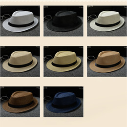 Wholesale Cheap Stingy Brims - Cheap Vogue Men Women Hat Kids Children Straw Hats Cap Soft Fedora Panama Belt Hats Outdoor Stingy Brim Caps Spring Summer Beach LC613