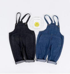 Wholesale Baby Boy Suspender Trousers - Kids suspender trousers baby boys girls pockets Denim pants children Harem pants Autumn new kids all-match leisure loose overalls G1518