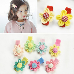 Wholesale Indian Hair Packaging - Hot sale Explosive children hair trim clip full package baby hair clip fabric small sun flower headdress FJ082 mix order 60 pieces a lot