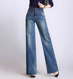 Pantalon en coton de couleur pour femme en Ligne-Coton mélangé denim jeans casual taille haute pantalons jambes larges pour les femmes, plus la taille printemps automne nouvelle mode 3 couleurs pantalons femme run0701