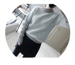 Wholesale Angora Women - Wholesale- 2014 new winter angora sweater korean women slit high collar sweater wilde bottoming knit sweater wild female