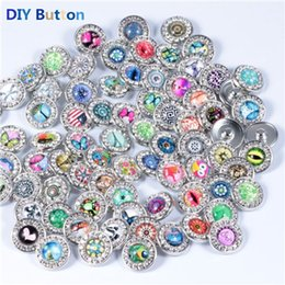 Wholesale Rhinestone Plastic Bracelets - Rivca Snaps Button Jewelry Hot wholesale Mix Styles 18mm Rhinestone Metal Snap Button Charm Fit Bracelets NOOSA Chunk
