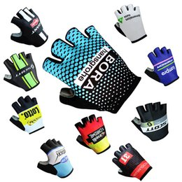 Wholesale Finger Sports - 2017 Tour de france Giant Bora scott Lotto Quick Step Data Lampre Inelli Cycling Bike Bicycle Team Antiskid GEL Sports Half Finger Gloves