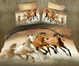 Wholesale Duvet Covers For Kids - 2016 Fashion Running Horses Print Queen Size Cotton 3D Bedding Set for Kids and Adults