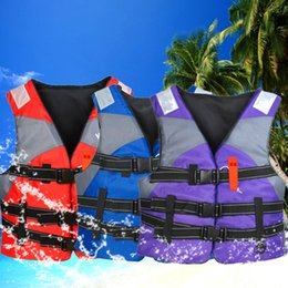 Wholesale Life Vest Wholesale - Wholesale- High Quality Outdoor Professional Swimwear Foam Life Vest Adult Kids Water Sport Survival Dedicated Life Jacket Swimming Jackets