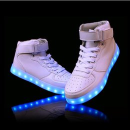 Wholesale Neon High Tops Shoes - Wholesale- 2016 women lights up led luminous shoes high top glowing boots with new simulation sole charge for men adults neon basket