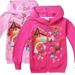 Wholesale Wholesale Girls Hooded Sweatshirts - Trolls poppy clothing girls hoodies long sleeve children hooded jumpers spring autumn girl's sweatshirts jackets 3 styles DHL shipping free