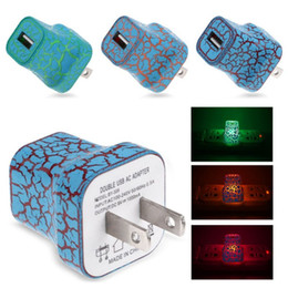 Wholesale Adapter Design - Universal LED USB Wall Charger Crack Design Glow Lighting UP 5V 1A AC Home Charging Power Adapter US EU Plug For iphone 7 Samsung S8 S7 HTC