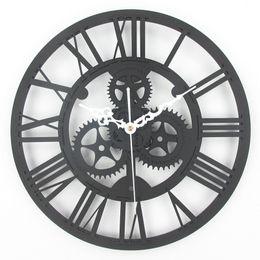 Шестерня онлайн-Wholesale- Large Antique Wall Clock 3D Acrylic Gear Wall Clock Vintage Retro Style Living Room Big Watch Clock Horloge Murale
