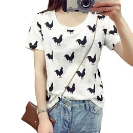 Wholesale Top Cock - Wholesale-Women cock rooster pattern T shirt summer loose short sleeve O-neck tees camisas femininas cute animal loose tops DT429