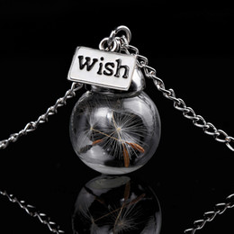 Wholesale Glass Orbs - New Dandelion Wish Necklace Wish Tag Glass Bead Orb Dandelion Seed Ball Necklaces for Women Fashion Jewelry 161959