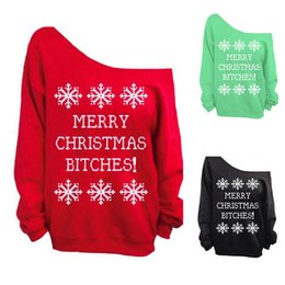Wholesale Merry Christmas Green - Xmas Fashion Off Shoulder Warm Fleece Sweatshirt MERRY CHRISTMAS BITCH Letters Print Snowflakes Women Winter Sweater