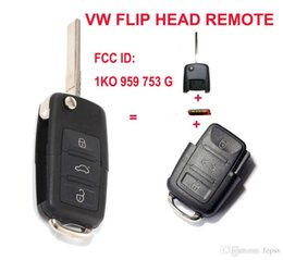 Wholesale Transmitter Chip - Keyless Entry Remote Transmitter 1K0 959 753 G For VW VOLKSWAGEN SEAT 3 Button 434MHZ With ID48 Chip