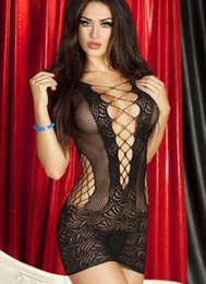 Wholesale Transparent Nightgowns - Free shipping hot sale 2017 Sexy lingerie hollowed-out round collar transparent sexy pure color household lingerie pajamas