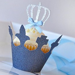 Wholesale Crown Baby Shower Favors - Wholesale-Silver Crown Party cupcake toppers picks decoration for kids birthday party favors Decoration supplies Baby Shower Decoration