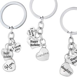 Wholesale Happy Birthday Metal - maxi statement fashion jewelry i love you dad mom grandma son daughter letter family member keyring happy birthday key ring 170719