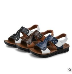 Wholesale Child Sport Fashion Shoes Wholesale - Youth Big Kids Brand Genuine Leather Children Shoes Sandals Summer Top Quality Boys Leather Beach Shoes Teen Fashion Sport Sandal 808
