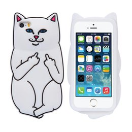 Wholesale Iphone Cases Silicon Animals - 3D Soft Silicon Cat Case For Iphone7 Iphone 7 Plus Cartoon Animals Rubber Middle Finger Cover For iPhone 6S Plus US1