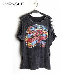 Wholesale Women Punk Rock Shirts - Wholesale-2016 Women Sexy T Shirts Punk Rock Design Fashion Print Off Shoulder Tops Femininas Camisas Vintage Hollow Out Clothing SIMPVALE