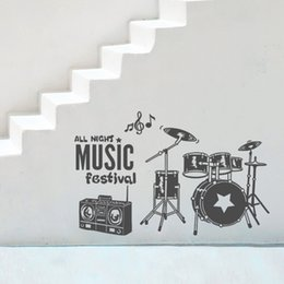 Wholesale Large Vinyl Music Wall Stickers - Music Wall Sticker Drum Strawberry Festival Handmade Wall Art Wall Poster For Shop Decoration Living Room Mural Home Decals