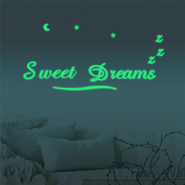 Wholesale Luminous Kids Glasses - Luminous SWEET DREAMS 3D Wall Sticker Glow In The Dark Fluorescent Wall Stickers The Letters For Kid's Room Decor