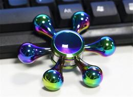 Wholesale Kong Bones - Rainbow Color White Bone Demon Six Arm King Kong Fidget Spinner Colorful EDC Gyro Toys Hand Spinner Fidget Aluminum Fidget HandSpinner