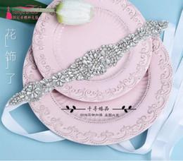 Wholesale Thin Crystals Waist Belt - 2017 Bride Wedding Dress Belt Ultra-shiny Glass Crystal Decoration was Thin Waist Cover Korean Dress Accessories