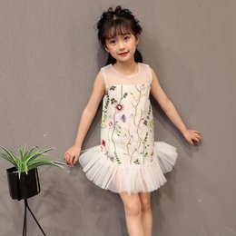 Wholesale Kids Indian Dress - Girls embroidered dress children 2017 summer new princess dress Baby Kids Clothing Indian fashion TUTU skirt 1204