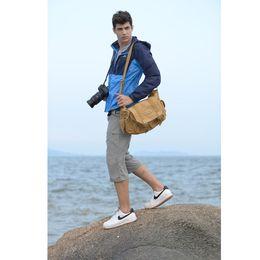 Wholesale Caden Canvas Camera Bags - CADEN Shoulder Camera Bags Sling Canvas Soft Bag For Men Digital Camera Video Backpack Brief Bag For Canon For Nikon F1 1305073