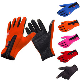 Wholesale Waterproof Touch Screen Gloves - Warm Windproof Waterproof Touch Screen Fleece Cycling Gloves Unisex Full Finger Bicycle Gloves Winter Outdoor Sport Gloves S-XL
